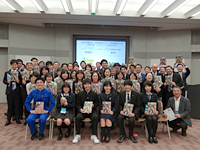 Group photo of high school students in Fukushima and NEC Group employees