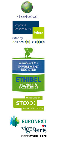 FTSE4Good,oekom Corporate Rating,member of the INVESTMENT REGISTER,ETHIBEL,STOXX,EURONEXT,vigeo eiris