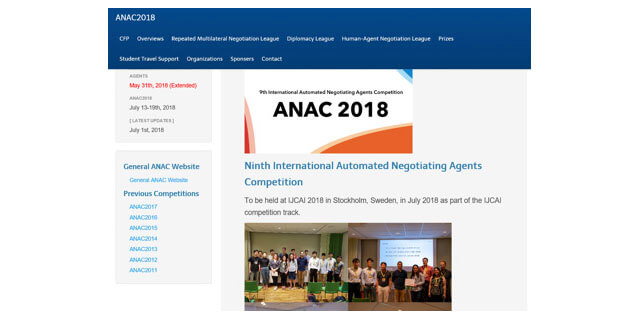 ANAC: Automated Negotiating Agents Competitionの開催Webと参加者の様子