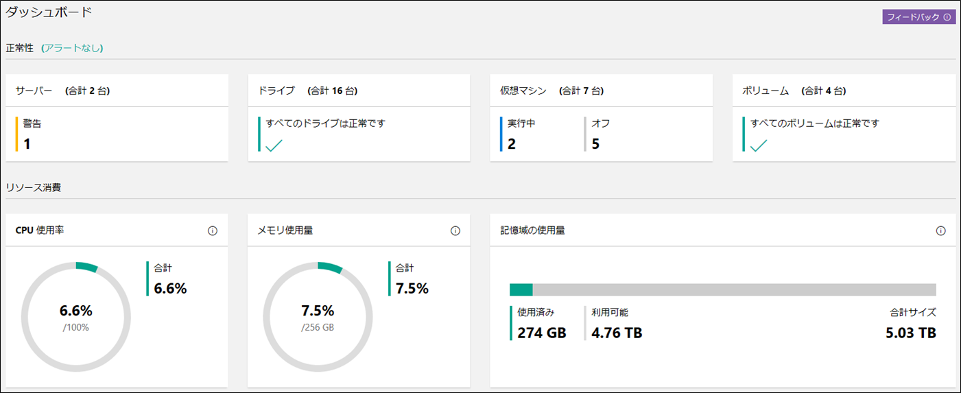 Windows Admin Center のHCI管理画面